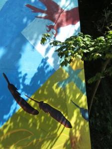 feathers, crows, East Van, wall art, graffiti, graphic design, boho, art