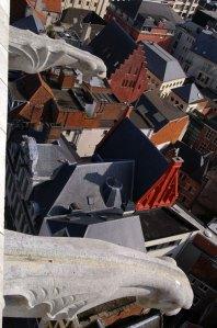gargoyles, waterspouts, belfry, belfort, clock tower, Ghent, Gent, Belgium, gothic, medieval