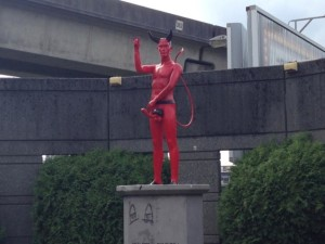 red devil statue, naked devil, East Van, guerilla art, East Van cross